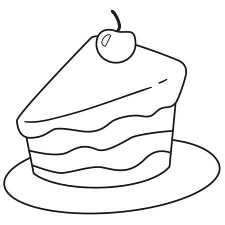 dinner plate: Vector illustration of cake slice in black and white outlined doodle style