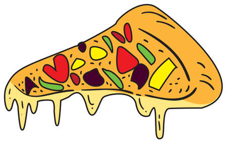 italian sausage: Vector illustration of pizza slice in colored doodle style Illustration