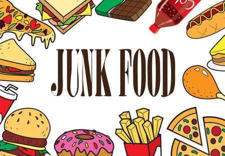 Ilustración del vector de comidas rápidas en el estilo de dibujo coloreado con la comida basura escritos en el medio