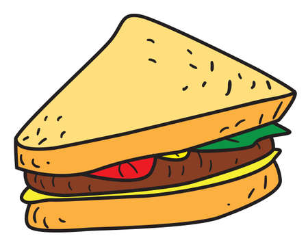 patty: Vector illustration of a sliced sandwich in black and white outlined doodle style Illustration