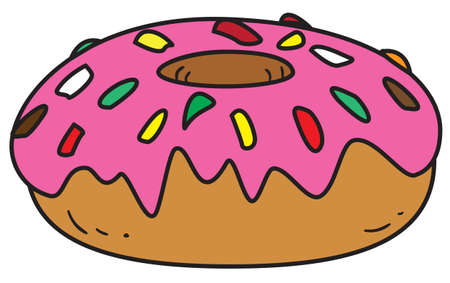 Vector illustration of a glazed donut in colored doodle style