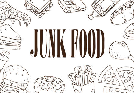 Vector illustration of fast foods in outlined doodle style with junk food written in the middle