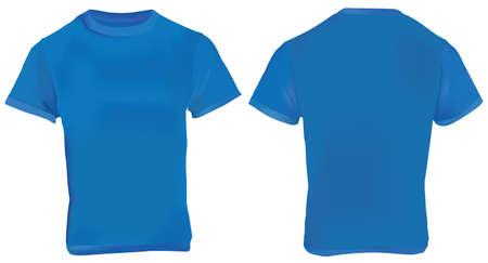 men back: illustration of blank navy blue men t-shirt template, front and back design isolated on white