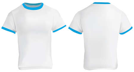 ringer: illustration of blank men blue ringer t-shirt template, white shirt with blue collar and sleeve bands, front and back design isolated on white Illustration