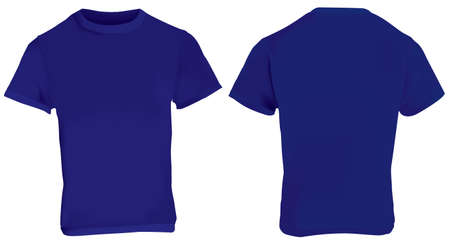 illustration of blank dark blue men t-shirt template, front and back design isolated on white