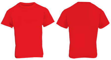 illustration of blank red men t-shirt template, front and back design isolated on white