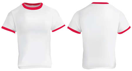 ringer: illustration of blank men red ringer t-shirt template, white shirt with red collar and sleeve bands, front and back design isolated on white