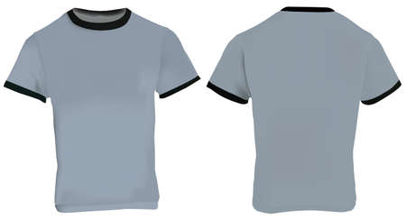 ringer: illustration of blank men grey ringer t-shirt template, grey shirt with black collar and sleeve bands, front and back design isolated on white