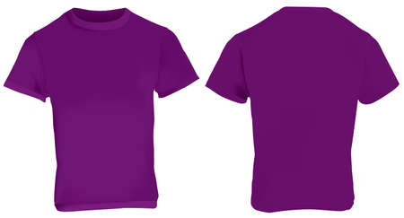 illustration of blank purple men t-shirt template, front and back design isolated on white