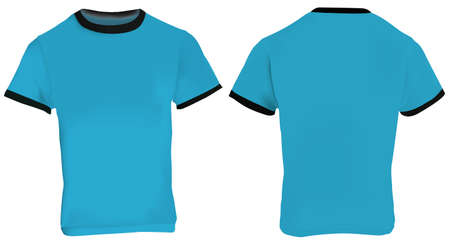 blue shirt: illustration of blank men blue ringer t-shirt template, blue shirt with black collar and sleeve bands, front and back design isolated on white Illustration