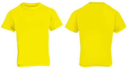 tank top: illustration of blank yellow men t-shirt template, front and back design isolated on white Illustration