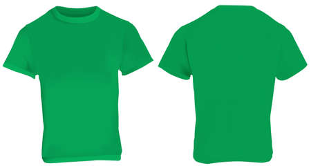 men back: illustration of blank green men t-shirt template, front and back design isolated on white