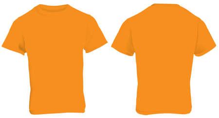 men back: illustration of blank orange men t-shirt template, front and back design isolated on white Illustration