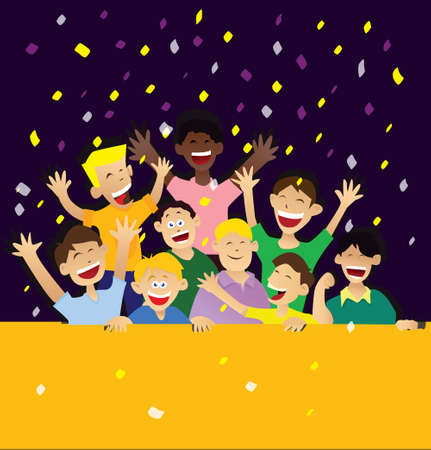 multi ethnic group: illustration of happy childs in celebrating victory with blank yellow space in front Illustration