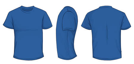 men back: Vector illustration of blank blue men t-shirt template, front, side and back design isolated on white