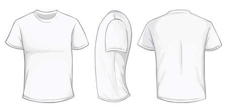 Vector illustration of blank white men t-shirt template, front, side and back design isolated on white Stock Vector - 61258466