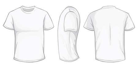 white men: Vector illustration of blank white men t-shirt template, front, side and back design isolated on white