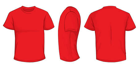 Vector illustration of blank red men t-shirt template, front, side and back design isolated on white