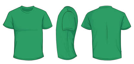 blank template: Vector illustration of blank green men t-shirt template, front, side and back design isolated on white