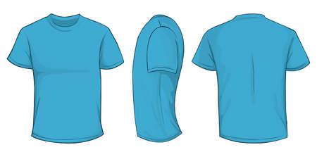Vector Illustration leere marineblau Männer T-Shirt-Vorlage, Front-, Seiten- und Rücken Design isoliert auf weiß Standard-Bild - 61258470