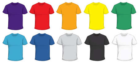 Vector illustration of blank men's t-shirt template in many color, red, purple, blue, green, gray, black, white, yellow, orange, front design isolated on white