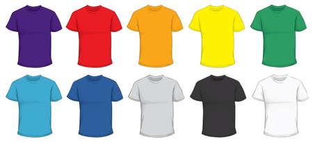 camisas: ilustración vectorial de la plantilla de la camiseta de los hombres en blanco en muchos colores, rojo, púrpura, azul, verde, gris, negro, blanco, amarillo, naranja, diseño frontal aislado en blanco Vectores