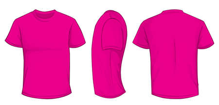 men back: Vector illustration of blank pink men t-shirt template, front, side and back design isolated on white