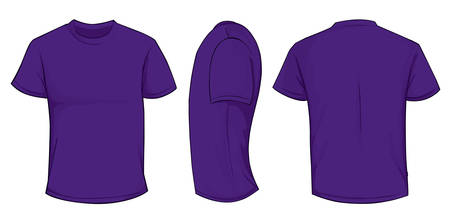 Vector illustration of blank purple men t-shirt template, front, side and back design isolated on white