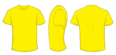 men back: Vector illustration of blank yellow men t-shirt template, front, side and back design isolated on white Illustration