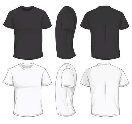 Vector illustration of blank black and white men's t-shirt template, front, side and back design isolated on white