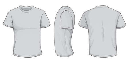 Vector illustration of blank grey men t-shirt template, front, side and back design isolated on white Vettoriali