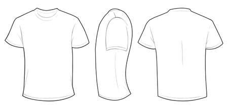 空白の白い男性 t シャツ テンプレート、フロント、サイドとバックのデザインが白で隔離のベクトル イラスト