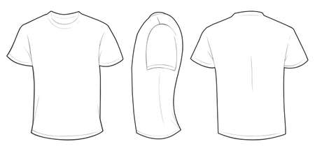 Vector illustration of blank white men t-shirt template, front, side and back design isolated on white