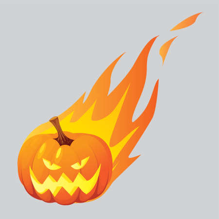 burned: Vector illustration of halloween pumpkin Jack o Lantern burned in fire