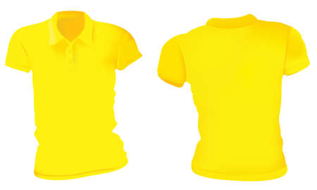 Vector illustration of blank yellow female polo t-shirt template, front and back design isolated on white