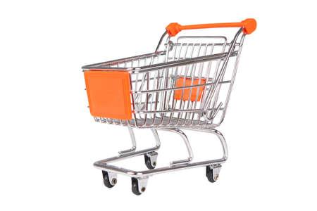 Imagen de la foto de una carretilla de compras aislada en blanco Foto de archivo