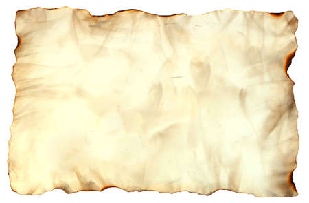 old paper: Photo image of an old paper sheet isolated on white, grunge burnt antique paper texture, empty old treasure map template Stock Photo
