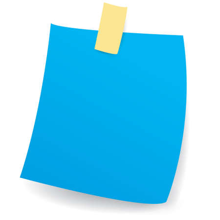 Vector illustration of blank blue sticky note paper isolated on white