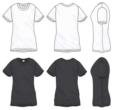 woman white shirt: Vector illustration of black and white short sleeved t-shirt, isolated front and back design template for women