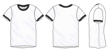 black men: Vector illustration of black and white short sleeved ringer t-shirt, isolated front and back design template for men Illustration