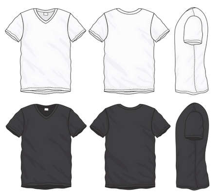 black men: Vector illustration of black and white short sleeved v-neck t-shirt, isolated front and back design template for men Illustration