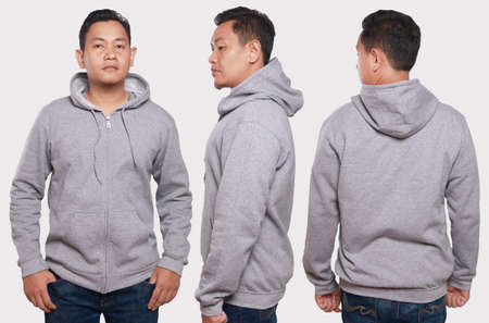 isolated man: Blank sweatshirt mock up, front, back and side view, isolated. Asian male model wear plain gray hoodie mockup. Hoody design presentation. Jumper for print. Blank clothes sweat shirt sweater