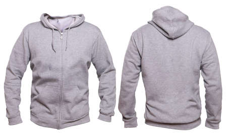 Blank sweatshirt mock up template, front, and back view, isolated on white, plain gray hoodie mockup. Hoody design presentation. Jumper for print. Blank clothes sweat shirt sweater