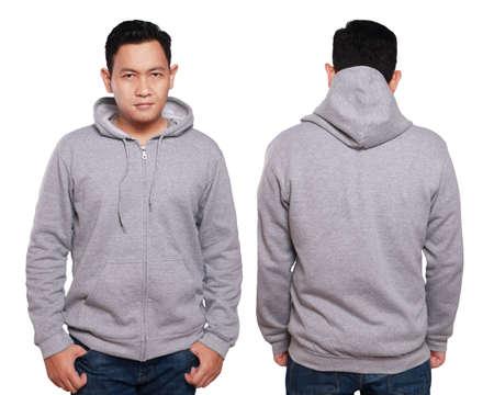 빈 운동복을 조롱, 앞면과 뒷면보기, 화이트에 격리. 아시아 남성 모델 일반 회색 까마귀 모형을 착용하십시오. Hoody 디자인 프리젠 테이션. 인쇄용 점