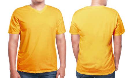 Orange t-shirt mock up, front and back view, isolated. Male model wear plain orange shirt mockup. V-Neck shirt design template. Blank tees for print