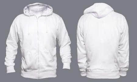 Lege sweatshirt mock up sjabloon, voor- en achterkant weergave, geïsoleerd op grijs, gewoon wit hoodie mockup. Hoody ontwerppresentatie. Jumper voor afdrukken. Blouse met blote kleding en sweat-shirt Stockfoto