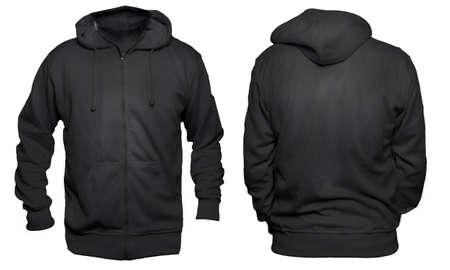 Lege sweatshirt mock up, voorkant en achterkant weergave, geïsoleerd op grijs. Aziatisch mannelijk model met een effen zwart hoodie-motief. Hoody ontwerppresentatie. Jumper voor afdrukken. Blouse met blote kleding en sweat-shirt Stockfoto - 80122463