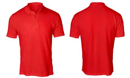 Leerer Polohemdspott herauf die Schablonen-, Vorder- und Rückansicht, lokalisiert auf weißem, einfachem rotem T-Shirt Modell. Polo-T-Design-Präsentation für Print. Standard-Bild - 80315697