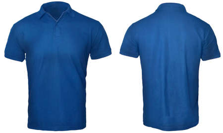 Blank polo shirt mock up template, front and back view, isolated on white, plain blue t-shirt mockup. Polo tee design presentation for print. Foto de archivo