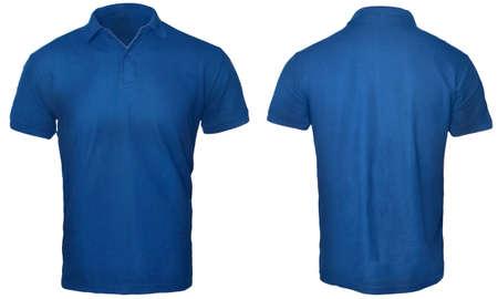 La camicia di polo in bianco deride sul modello, vista anteriore e posteriore, isolata sul modello bianco e normale della maglietta blu. Presentazione del design tee Polo per la stampa.